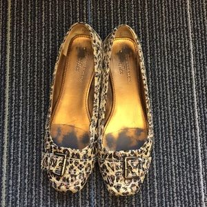 Square toed leopard ballet flats with buckle